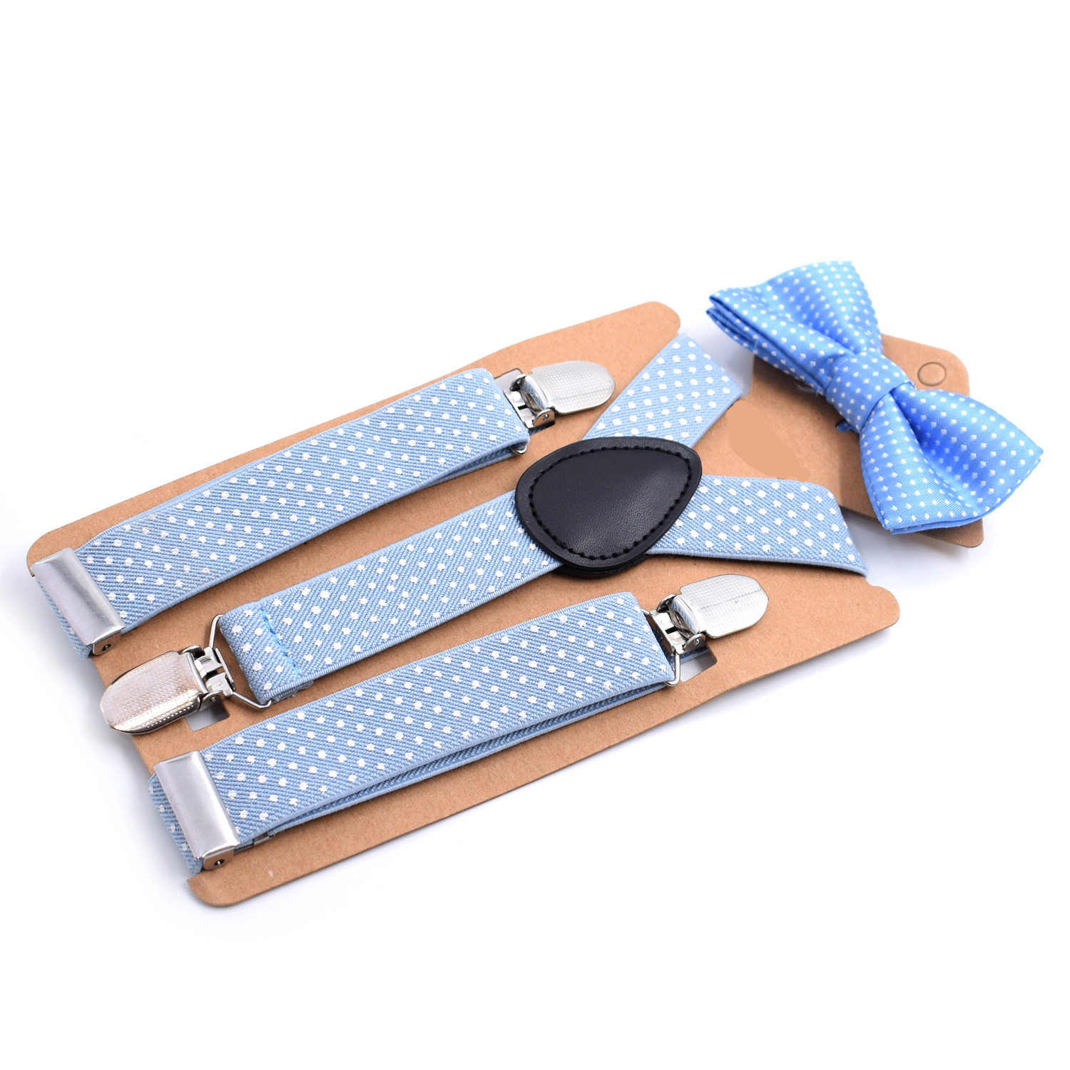 2019 New Bow Tie Suit Children's Strap Clip Black Print 3 Clip Boy And Girl Suspender Belt Strap Adjustable Fashion Novelty