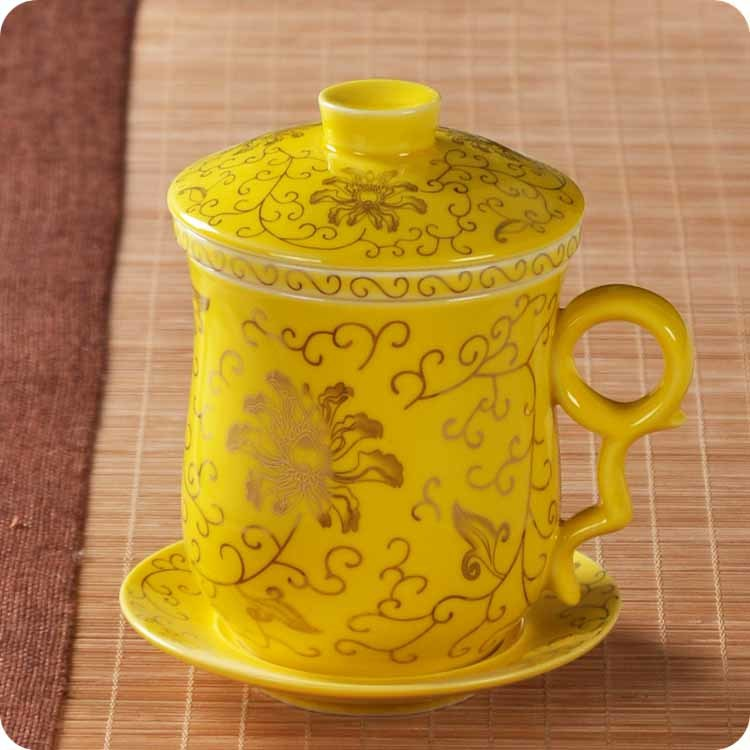 Ceramic Bone Filter With Lid Office Meeting Personal Bubble Cup. China Jingdezhen Dragon Cup 250ml