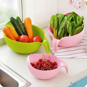 Image 2 - Food Grade Plastic Rice Beans Peas Washing Filter Strainer Green Pink Color Basket Sieve Drainer Cleaning Gadget Color At Random