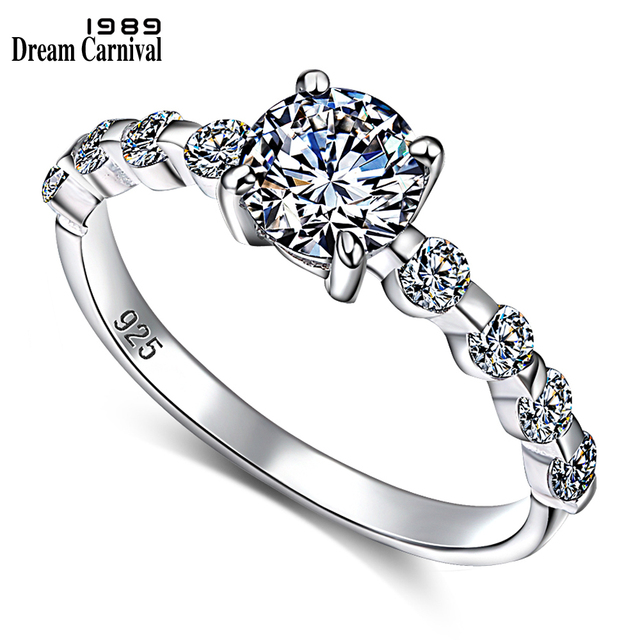 DreamCarnival 1989 New Wedding Party White Cubic Zircon Jewelry Design Silver Ring for Women Girl Friend Anillos Mujer SJ22546