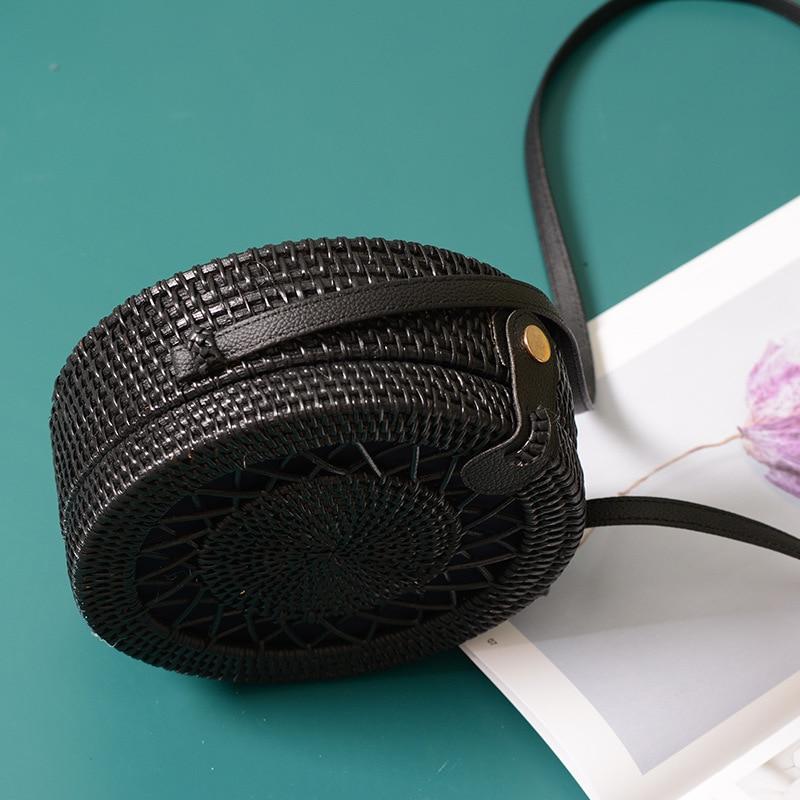 Black Round Rattan Bags For Women Crossbody Bag Handmade Woven Circle Shoulder Bag Female Handbags in Top Handle Bags from Luggage Bags