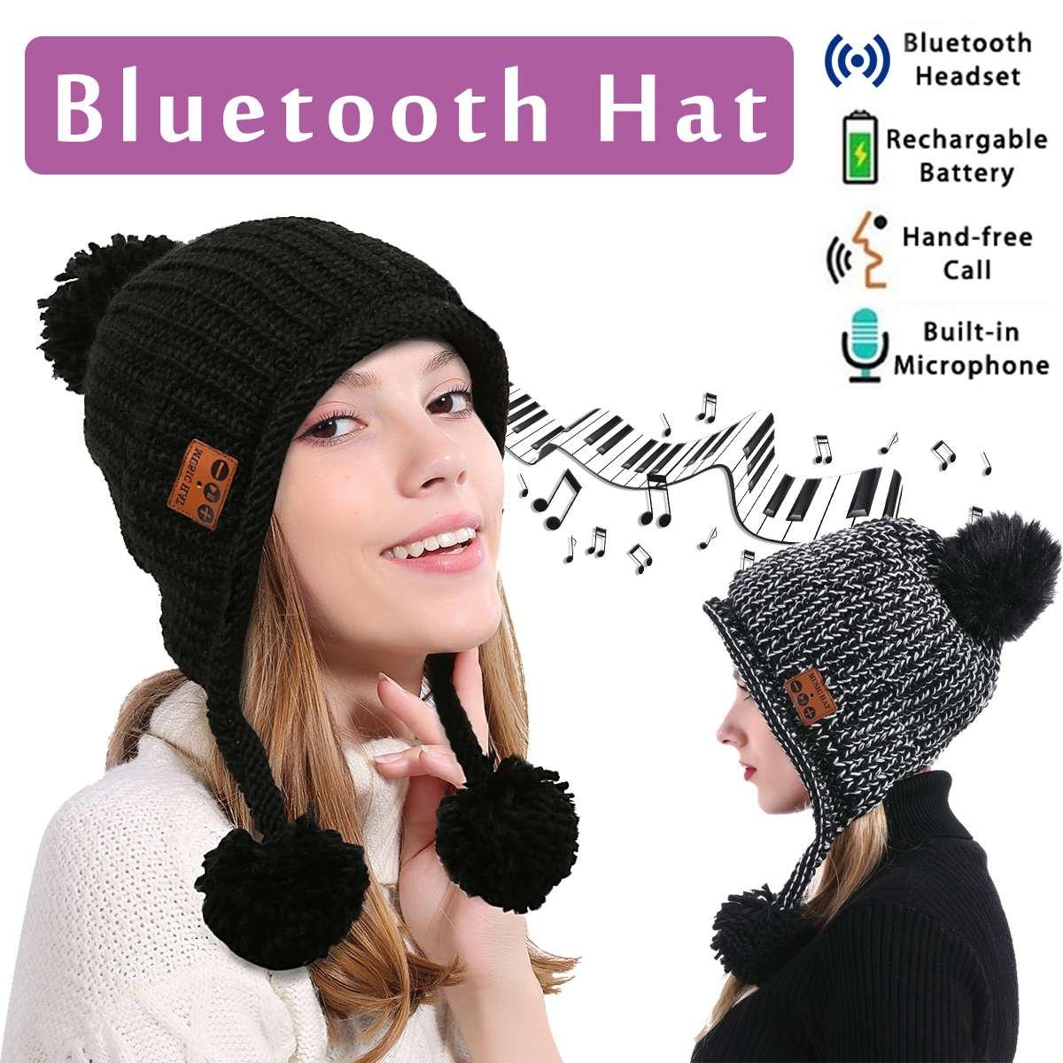 LEORY Winter Wireless bluetooth Headset Hat for Woman Outdoor Fashion bluetooth V4.2 Cap Headphone Warm Hats Music Earphone