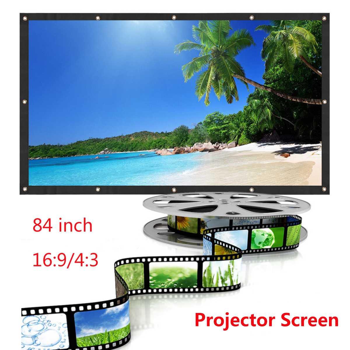 Portable 84 pouces 3D HD Fixé Au Mur Écran De Projection Toile 16:9 projecteur LED Pour Le Home Cinéma
