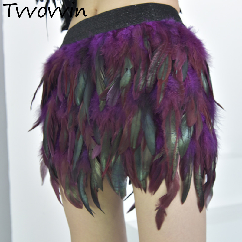 TVVOVVIN 2019 Europe New Fashion Irregular Hem Bottoms Spring Peacock Feathers Gradient Elastic Waist Skirts Personality AS739