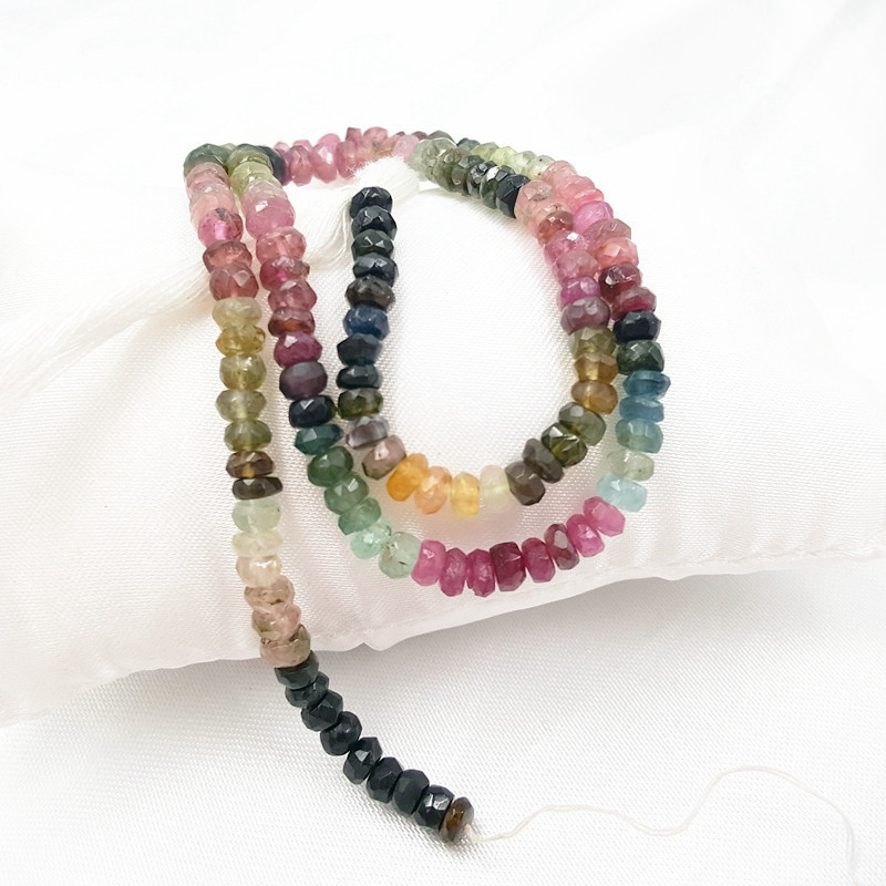 Lii Ji Bright Quality Multiple Color Faceted Flat Round Tourmaline Beads DIY Jewelry Making Necklace Bracelet