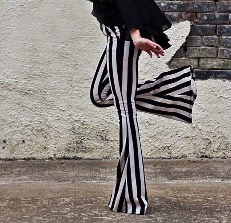 Women Fashion Striped Bell Bottoms   Pant   Flare   Pants   Elastic Waist Long Trouser Leggings Female Clothes