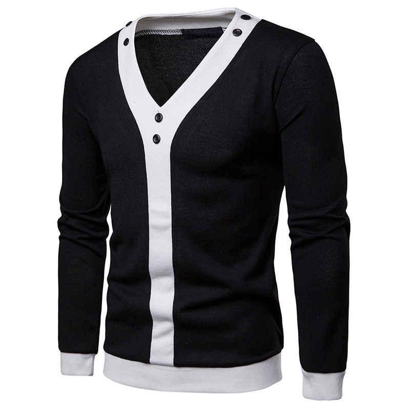 2019 새로운 스타일 패션 핫 남자 긴 소매 따뜻한 스웨터 캐주얼 탑 카디 건 단추 포켓 패치 워크