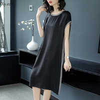 2018 Summer New Style Simple Fashion Stripes Soft 100% Real Silk Straight Dress Female Casual Loose Short Sleeve Dress