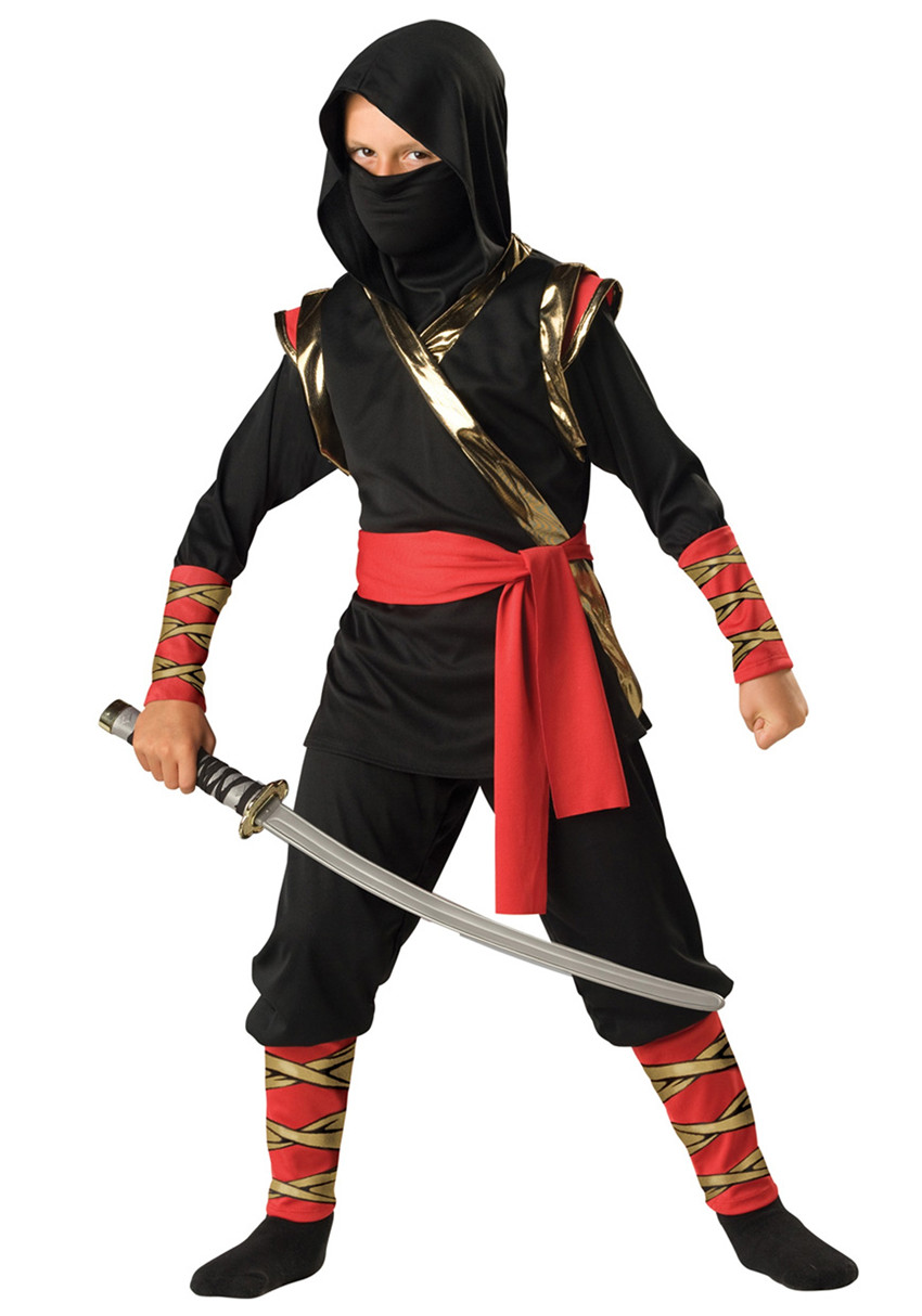 Kids Ninja Costume Boys And Girls Black Stealth Warrior Uniform Halloween Party Cosplay Outfit