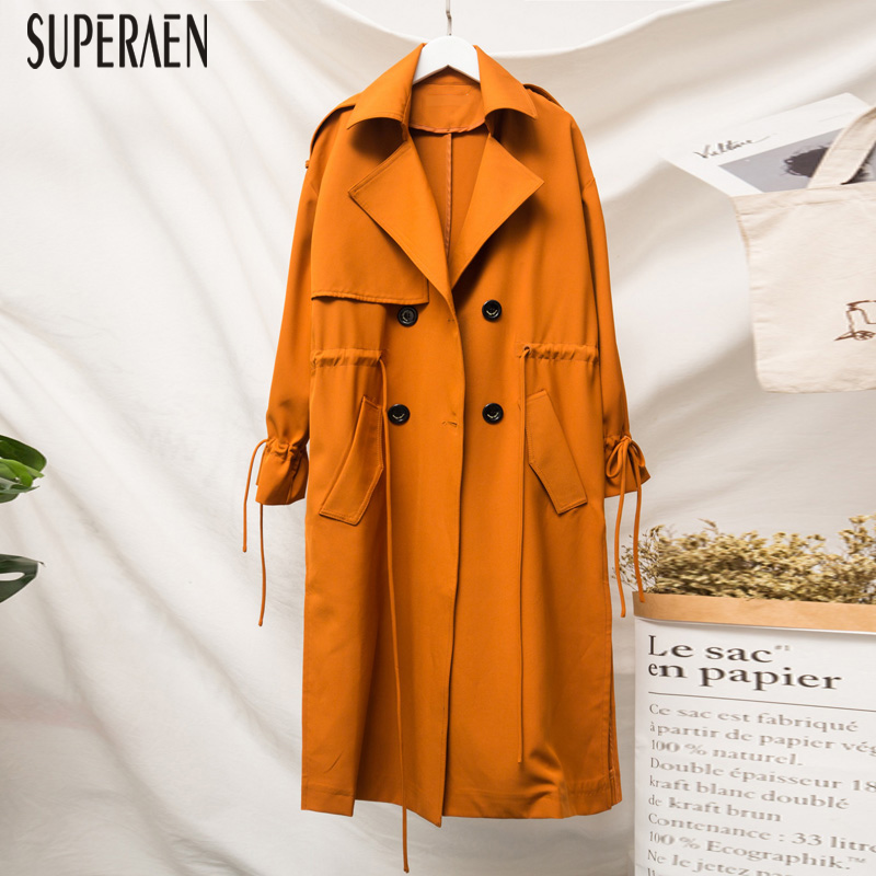 SuperAen 2018 Autumn New   Trench   Coat for Women Pluz Size Cotton Wild Casual Ladies Windbreaker Double-breasted Women Clothing
