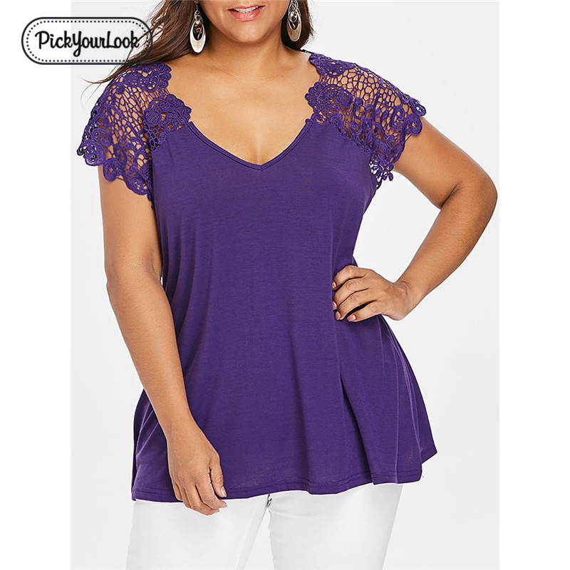 Pickyourlook Women   Blouses   Summer Floral Plus Size Female Tops   Blouse     Shirt   Short Sleeve Embroidered Large Mesh Lady Tops Blusas