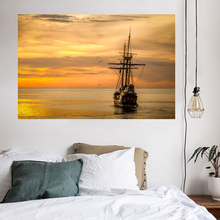 Sunset Sea Boat Tapestry Golden Evening Glow Clouds Gull Sky Home Decoration Print Cloth Curtain Throw