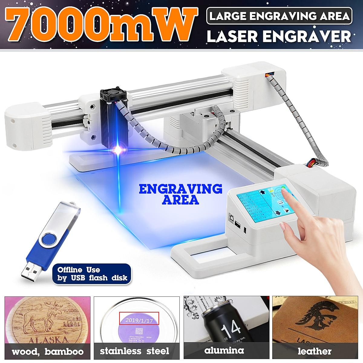 7000mW DIY Computer Laser Engraver Stainless Steel Laser Cutter Marking Machine Logo Mark Printer For Windows-97/03/7/8/10
