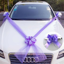 10 Ribbon Bows Set Silk Wedding Car Flower Plate Wedding Dec