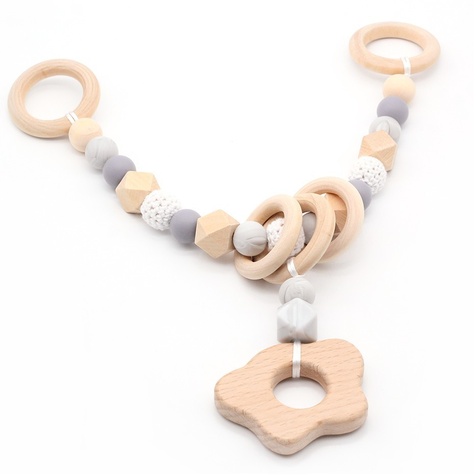 NEW Wooden Baby Rattle Teething Silicone Beads Bracelet Set Chew Toys Crochet Beads Pram Chain For Newborns Stroller Chains Toy