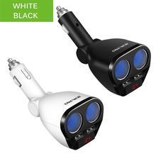 1 a 2 120W 12 V 24 V Car Cigarette Lighter Socket Splitter Hub Adattatore di Alimentazione Con Doppia USB Caricabatteria Da Auto Kit Bianco/Nero
