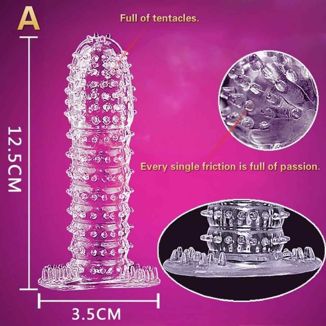 Reusable Condom Sheath Ribbed Stimulate Ejaculation Delay Penis Sleeve Sex Toys 8 15cm Clear