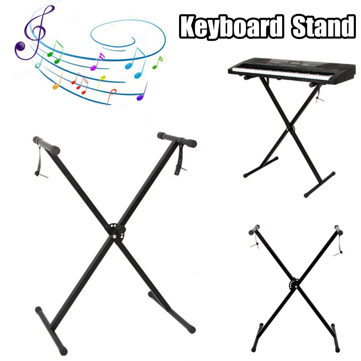 Portable Durable Sturdy Reliable X Shape Black Music Keyboard Electronic Piano Dual Tube Universal Electronic Keyboard Stand