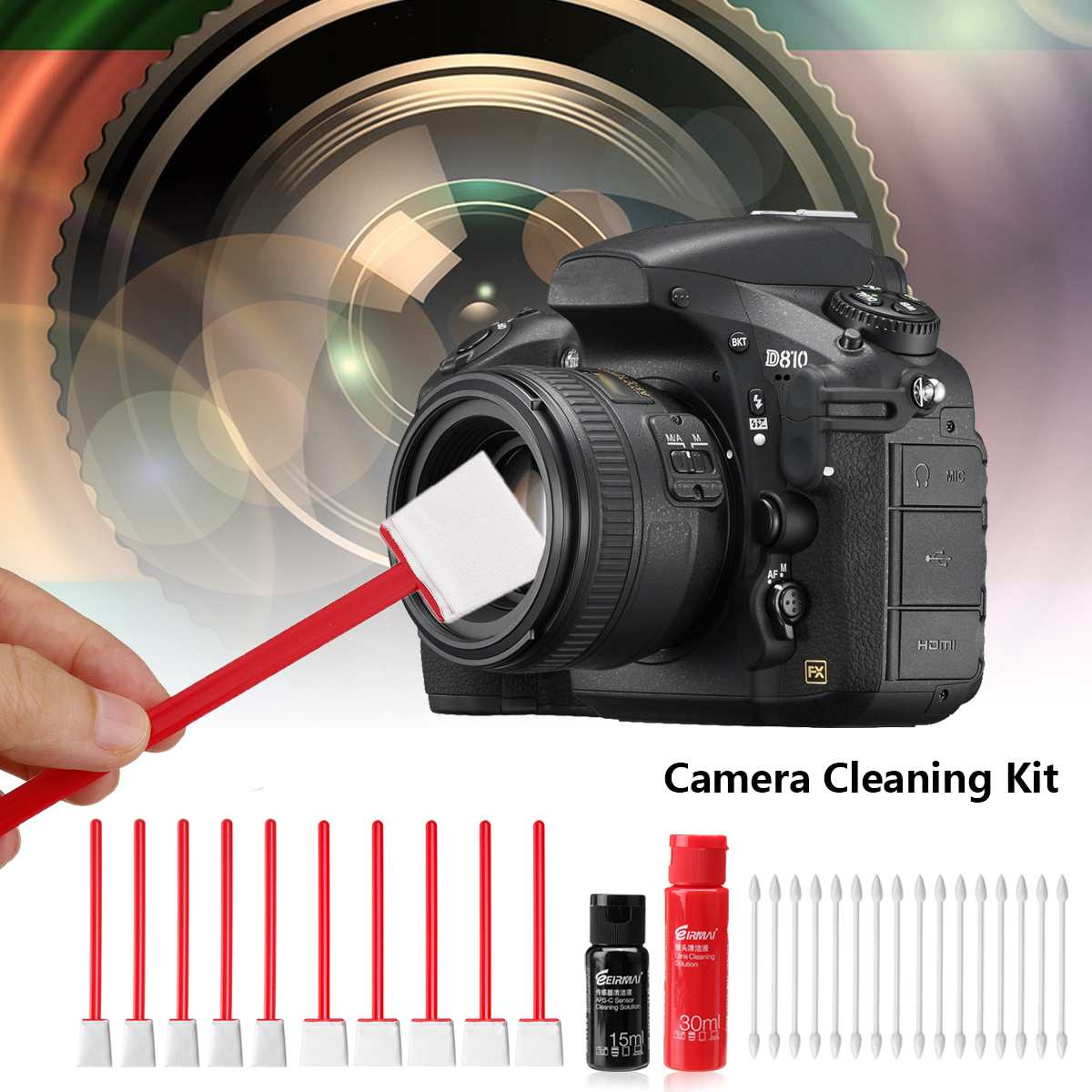 Sensor de Cámara Limpiador Toallitas de lente óptica herramientas de limpieza de pantalla del teléfono para DSLR
