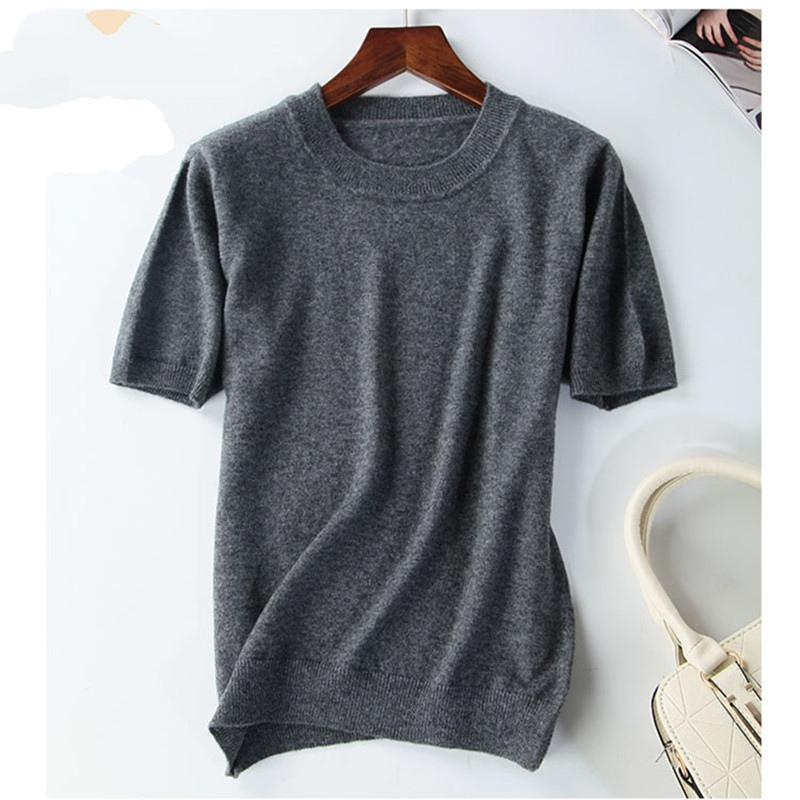 New Arrival Summer Cashmere Wool Sweater Spring Autumn Women Solid Short Sleeve O-neck Pullovers Jumper Knitted Sweaters