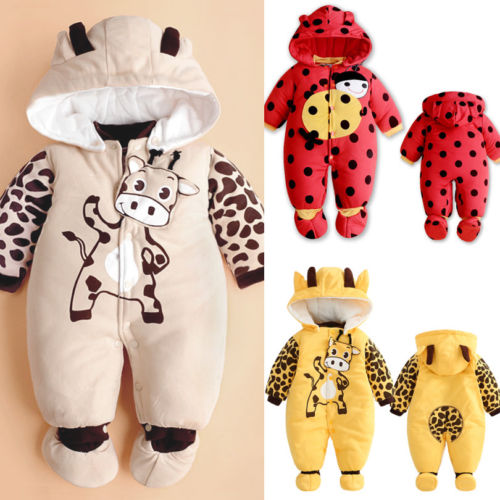 Infant Baby Boy Girls Romper Winter Warm Cartoon Jumpsuit Hooded Outfit Kids Clothes 3-24 Months