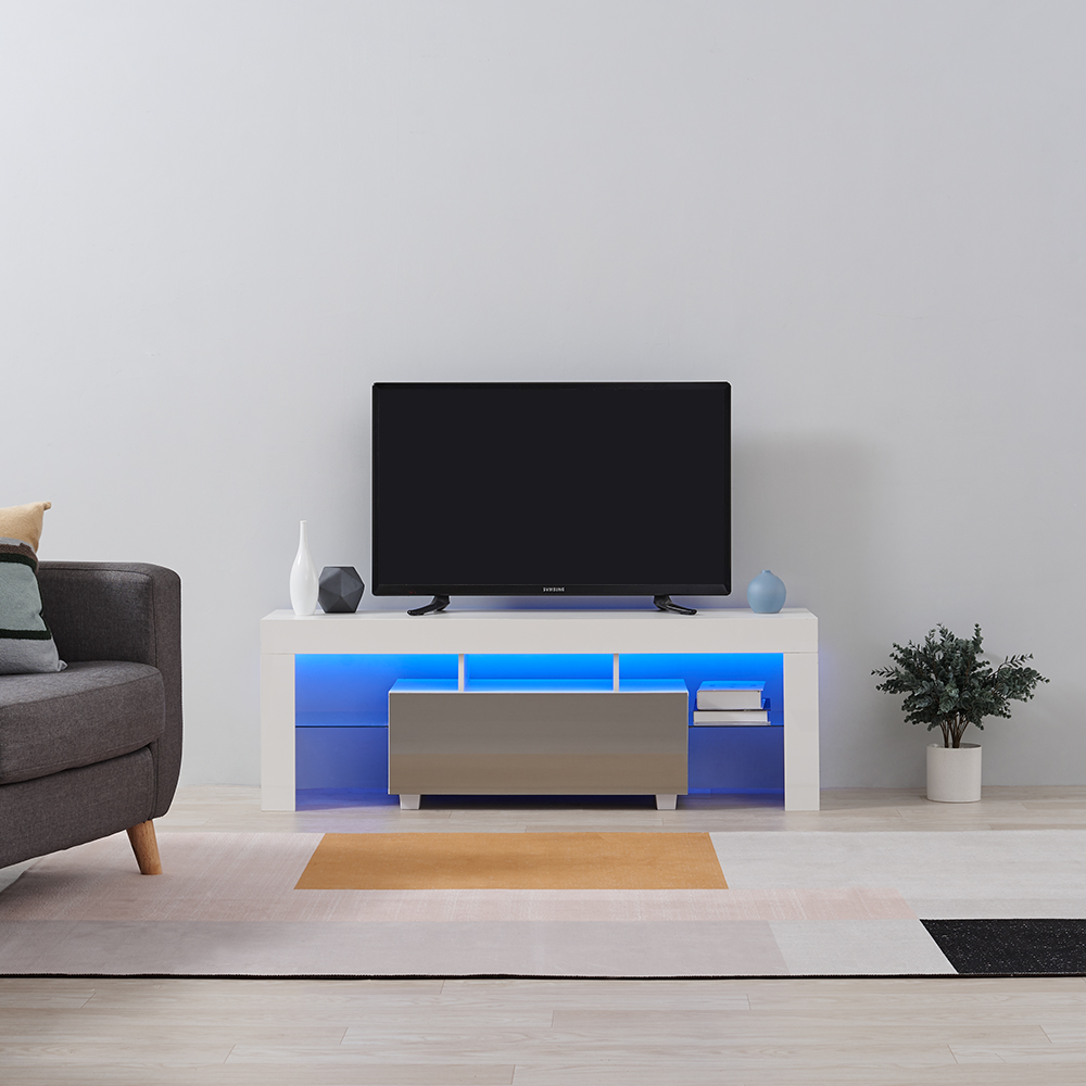 Black Panana Modern Sideboard High Gloss Front Storage Cabinet Cupboard with RGB LED Lights Living Room