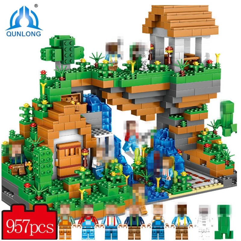 957PCS My World Building Blocks compatible Minecraft Village Warhorse City Tree House Waterfall Educational Toys For