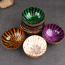 Hot Sale Coconut Shell Ornaments Decorated Bowl Handmade Colorful Key Confectionery Candy Kitchen Supply