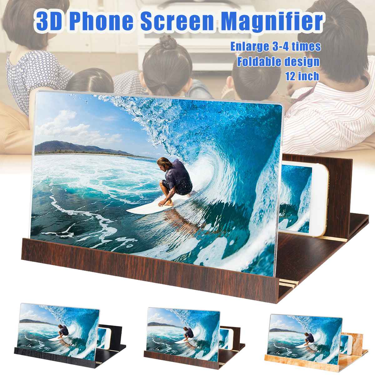 12 Inch 3d Phone Screen Magnifier Desktop Bracket Mobile Phone Video Magnifying Glass Smartphone Holder Mount Movie