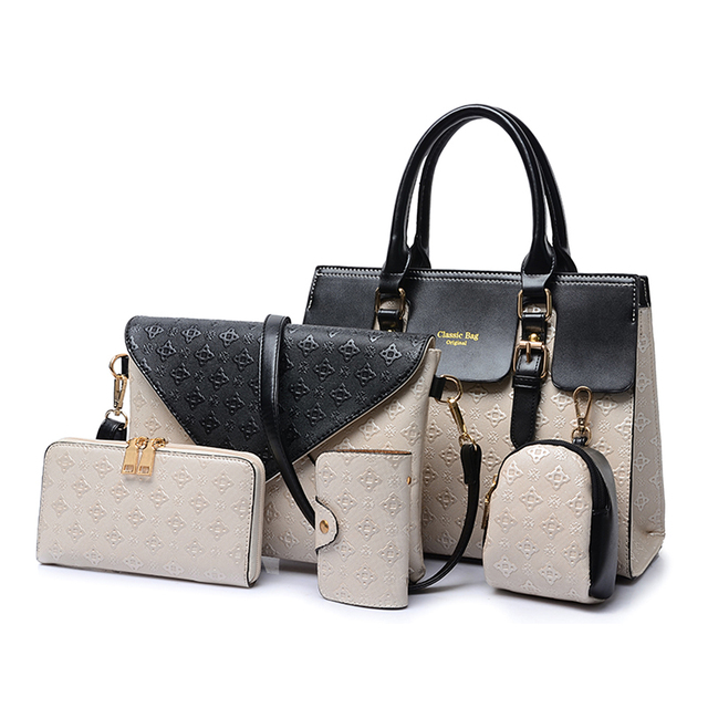 93f9fd28475c 2019 New Women Shoulder Bags Leather Handbags Fashion Female bag High  Quality 5-Piece Set