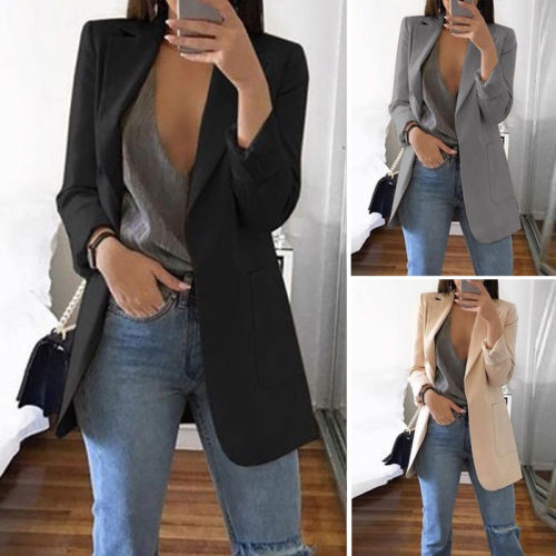 Ladies Solid Long Sleeve Arrival Lapel Notched Slim Cardigan Outdoor Blazer Women Casual OL Blazers Coat