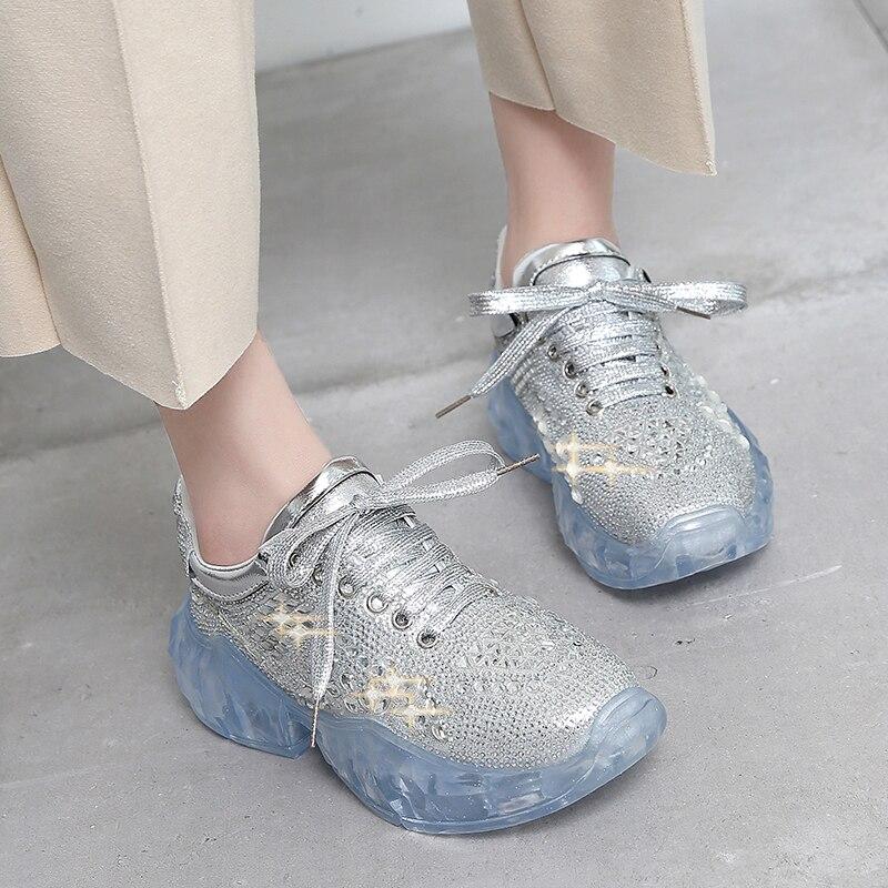 De Sapatilhas Casuais Salto Sapatos Brilho Strass Calçados Traniner Das Cristal Mulheres Esportivos up Prata Plataforma Do Transparente Da Grosso Lace qSwdpZw