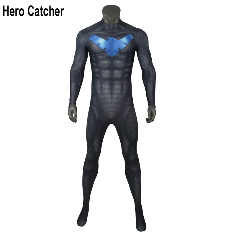 Hero Catcher High Quality New Night Wing Suit Muscle Shade NightWing Cosplay Costume For Man