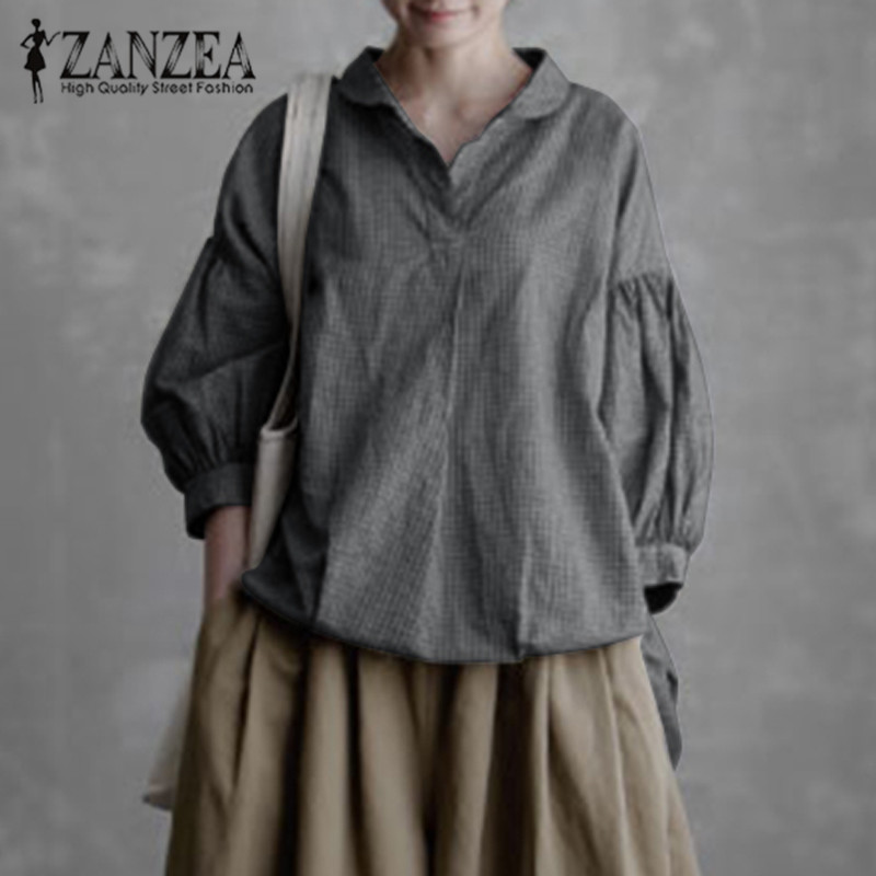 2019 ZANZEA WomenVintage Lantern Sleeve Shirts V Neck Tunic Tops Casual Blouse Chemise Robe Solid Vintage Blusas Plus Size