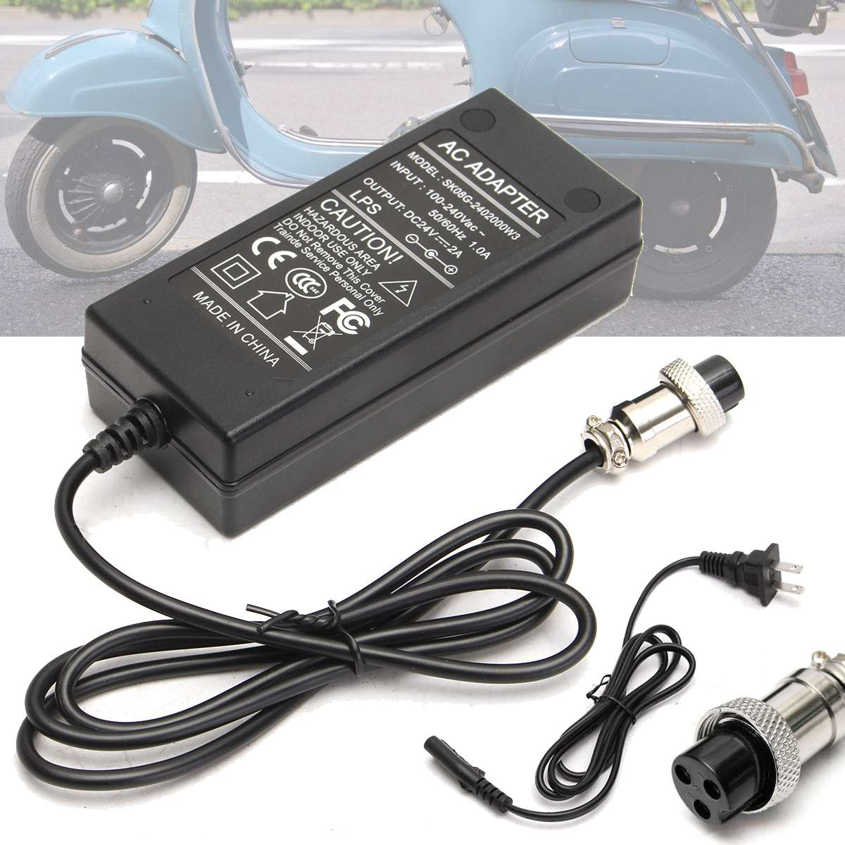 New Black Electric Scooter font b Battery b font Charger 24V Power Adapter DC 2A For