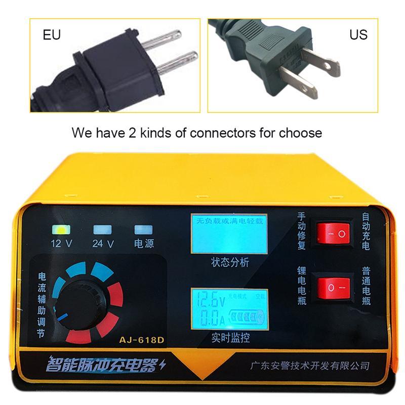 Chargeur de batterie de voiture Pour 12 V 24 V Automobile Auto Moto Batterie en Temps Réel Moniteur US EU batterie au lithium De Charge Unités