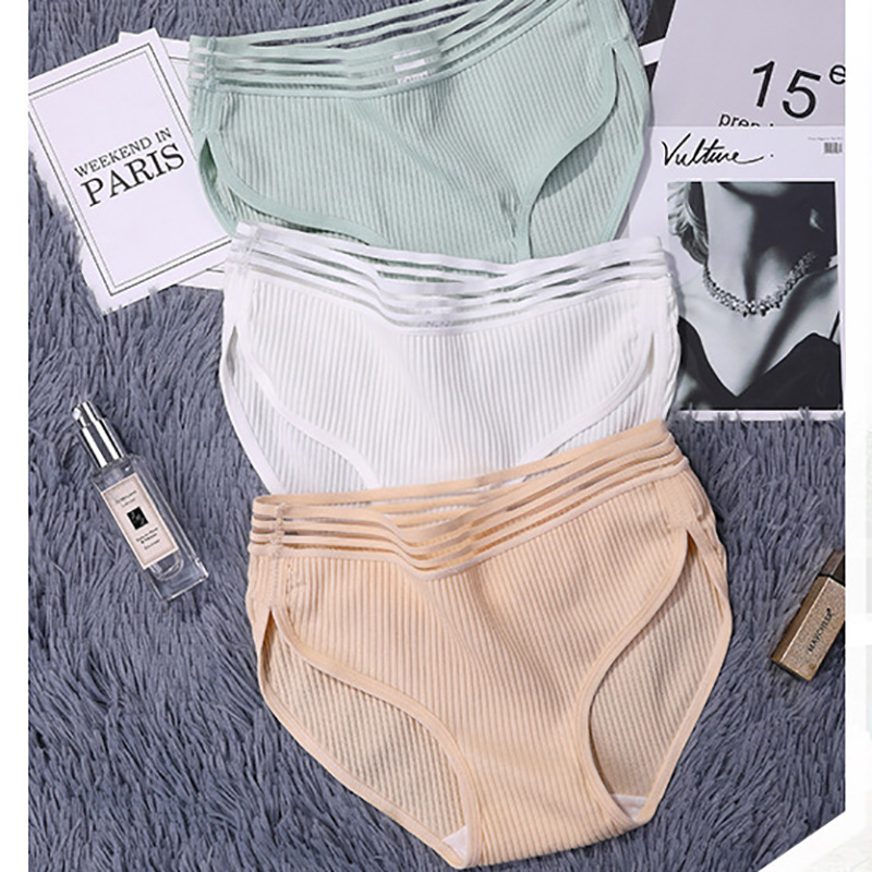 3pcs/lotSexy Lace   Panties   For Women Transparent Briefs Seamless Lingerie Underwear Solid Mid-Waist Cotton Female Underpants #D
