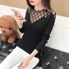 2019 Autumn Winter Women  High Elastic Solid O-neck Lace Sweater Female Slim Sexy Hollow Out Tight Bottoming Knitted Pullovers