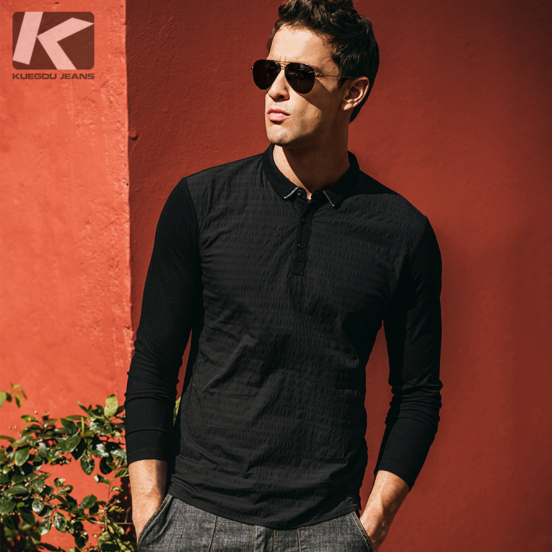 Autumn Men Poloshirts Cotton Patchwork Black White Color For Man Casual Long Sleeve Slim Clothes 2018 New Male Wear Tops 1021