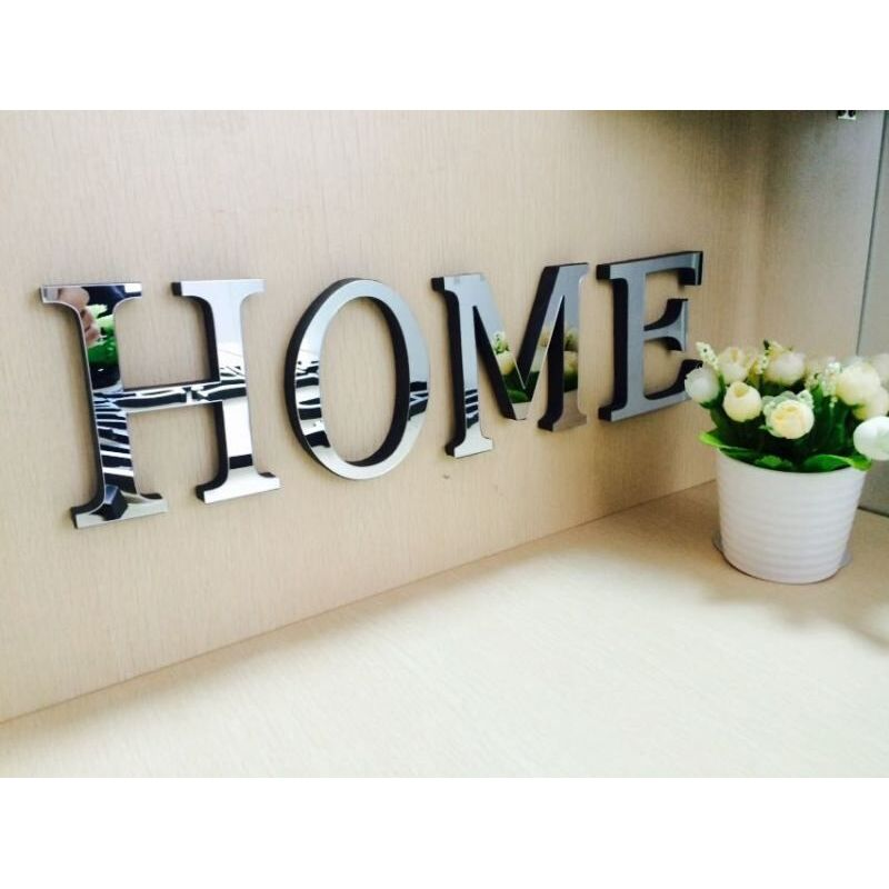 Acrylic Mirror 3D Wall Sticker English Letters HOME Silver Alphabet Decals Poster For Bedroom Living Room Decoration Art Mural