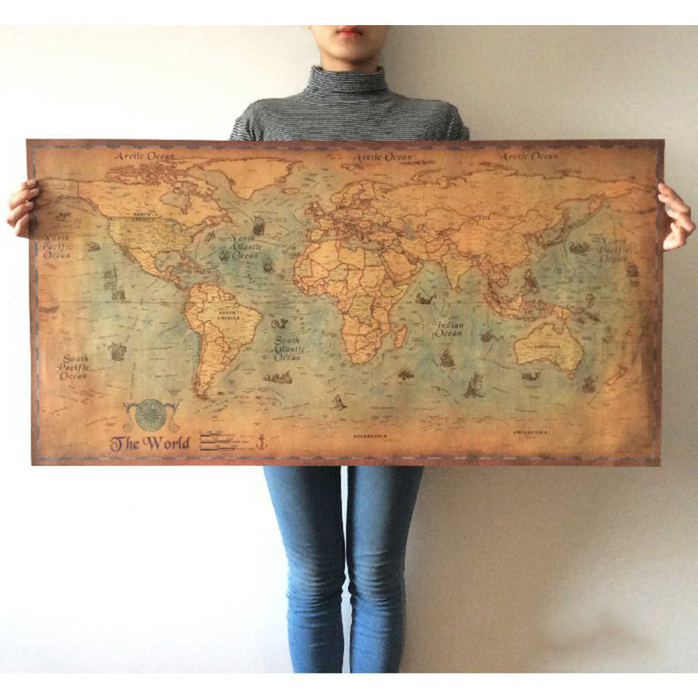 Vintage Style Nautical Ocean Sea World Map Retro Old Art Paper Painting Home Decor Wall Poster Home Decoration Stickers & Poster