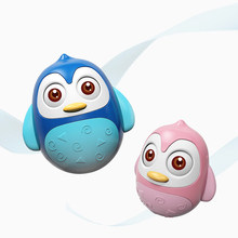 Cute Baby Penguin Tumbler Toy with Rolling Eyes Rattle Ring Bell Sound Toy Smooth edge Toddler Musical Wobble Education Toys(China)