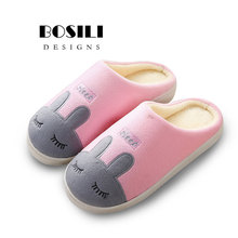 hot deal buy 2018 new womens and mens same style warm winter soft cashmere womens shoes rabbit cute cotton slippers