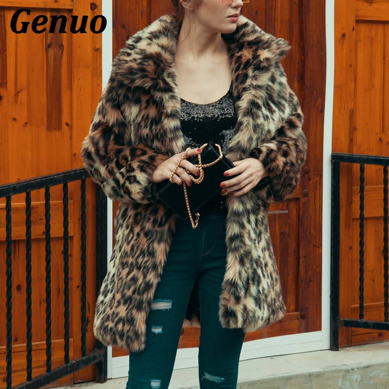 Kadın Giyim'ten Yapay Kürk'de Genuo Kadın Leopar Baskı Taklit Kürk Kış Kalınlaşmak sıcak Uzun Kollu Ince Kürk Ceket Giyim Zarif Trençkot Palto Sokak'da  Grup 1