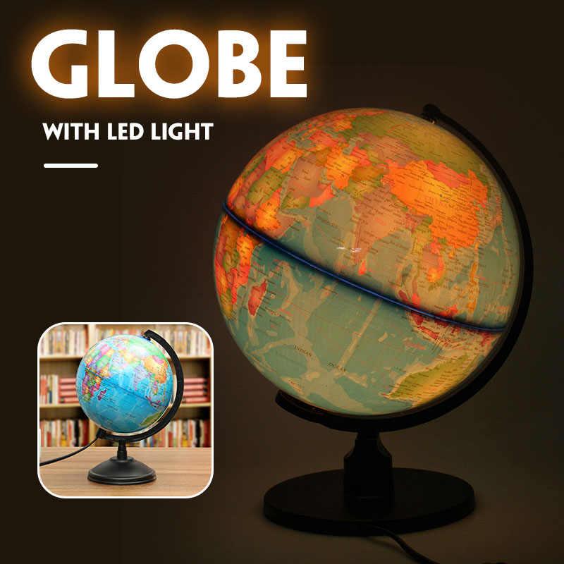 25 Cm LED Bumi Globe Peta Dunia dengan Stand Terrestre Geografi Pendidikan Mainan Rumah Kantor Ideal Miniatur Hadiah Kantor Gadget