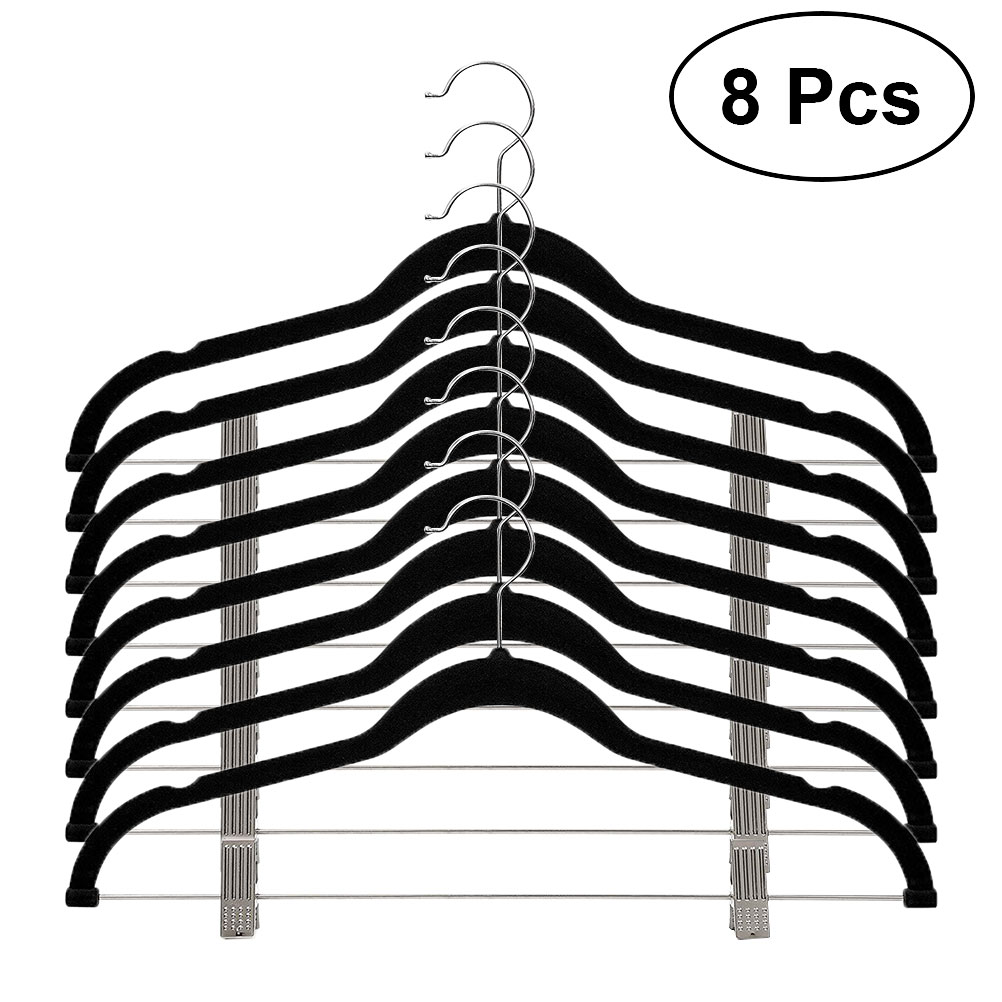 8pcs Velvet Clothes Hangers Premium Non-Slip Clothes Hangers With Clips For Pants Jackets Coats Clothes Dress