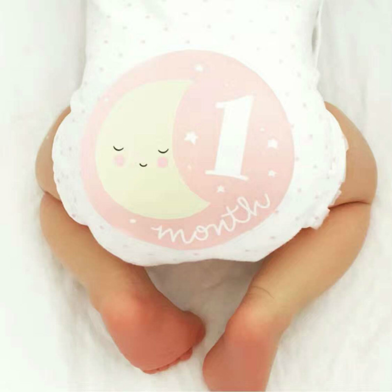1-12 Monthly Baby Pregnant Women Photograph Stickers Cute Cartoon Pink/ Blue Milestone Sticker Clothing Decoration Stickers