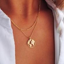 Ожерелье с картой мира, золотой кулон с картой, чокер с картой мира, лунные ожерелья и подвески, изысканные подвески для женщин
