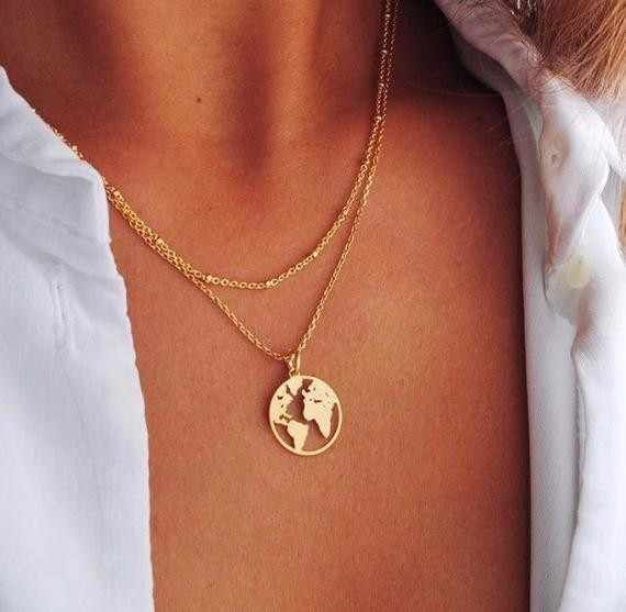 World Map Necklace Globetrotter Gold Map Pendant World Choker Map Crescent Moon Necklaces&Pendants Dainty Pendants For Women