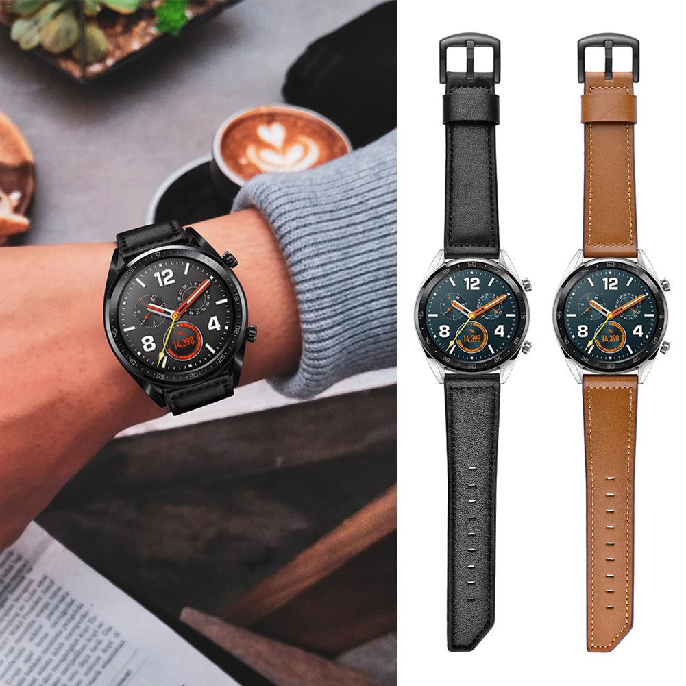 22MM Smart Sports Watch With Leather Replacement Watch Strap For Huawei Watch Fine Texture, Sturdy And Durable Leather Strap-in Smart Accessories from Consumer Electronics